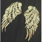 Pair of sequinned iron-on Angel Wings - Gold
