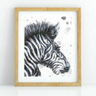 Zebra Watercolour Art Print (A4)