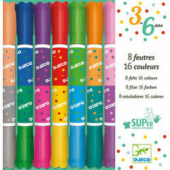 Djeco 8 Chunky Twin-Ended Washable Felt Tip Pens - 16 Colours