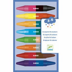 Djeco 8 Double-Ended Crayons - 16 Colours