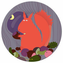 Petit Jour Paris Forest Side Plate - Squirrel