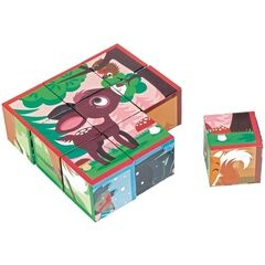 Janod KubKid 9 Puzzle Blocks - Forest Animals