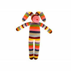 Global Affairs  Knitted Multi Stripe Bunny Soft Toy