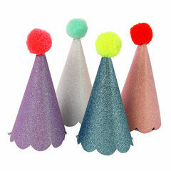 Meri Meri Glitter Party Hats with Pom Poms