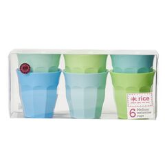 Rice Set of 6 Medium Melamine Cups - Blue & Green