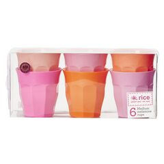 Rice Set of 6 Medium Melamine Cups - Pink & Orange