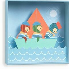 Djeco Box Frame 3D Picture - Penguin Sailors