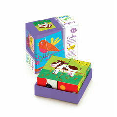 Djeco 4 Piece Wooden Cube Puzzle - Coloured Farm - Meuh & Co