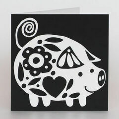 Lisa Jones Studio Pamela Pig Recycled Greeting Card