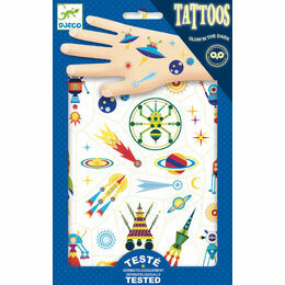 Djeco Temporary Tattoos - Space Oddity (Glow in the Dark)