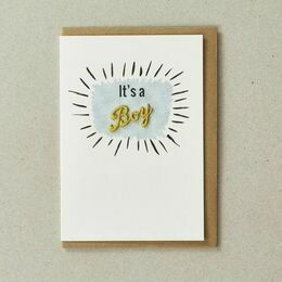 Embroidered New Baby Card - It\'s a Boy