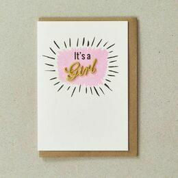 Embroidered New Baby Card - It\'s a Girl