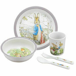 Petit Jour Paris Peter Rabbit 5 Piece Dinner Gift Set (Taupe)