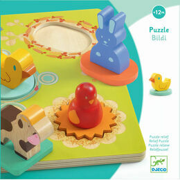 Djeco Wooden Relief Puzzle - Bildi Duck and Friends