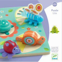 Djeco Wooden Relief Puzzle - Lilo Turtle and Friends