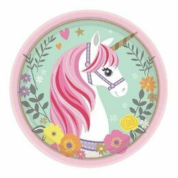 Magical Unicorn Round Paper Plates 7\