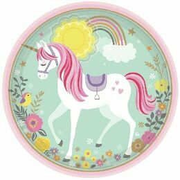 Magical Unicorn Round Paper Plates 9\