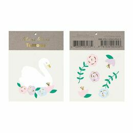 Floral Swan Temporary Tattoos