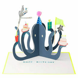 Party Octopus Stand-Up Birthday Card