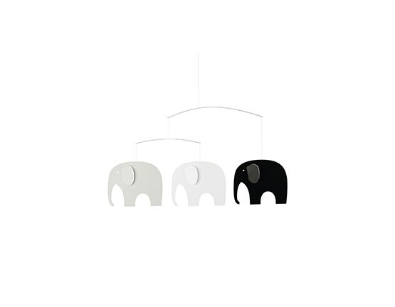 Flensted Mobiles Elephant Party - Black & Grey Mobile