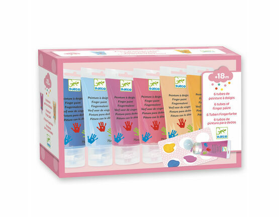 Djeco 6 Colour Finger Paint Tubes - Sweet Colours