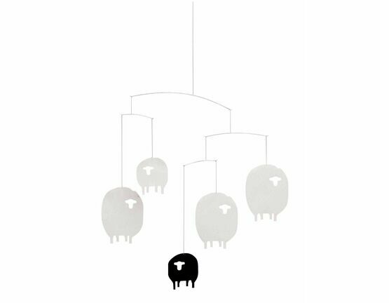 Flensted Mobiles Sheep White and Black Mobile